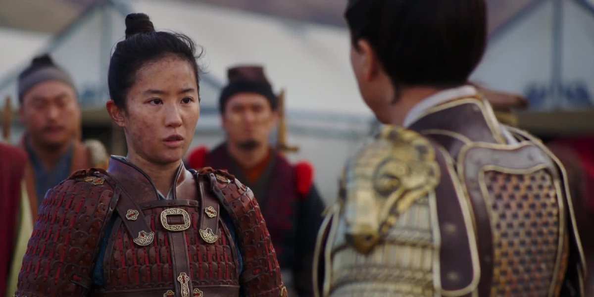 Mulan standing in the field