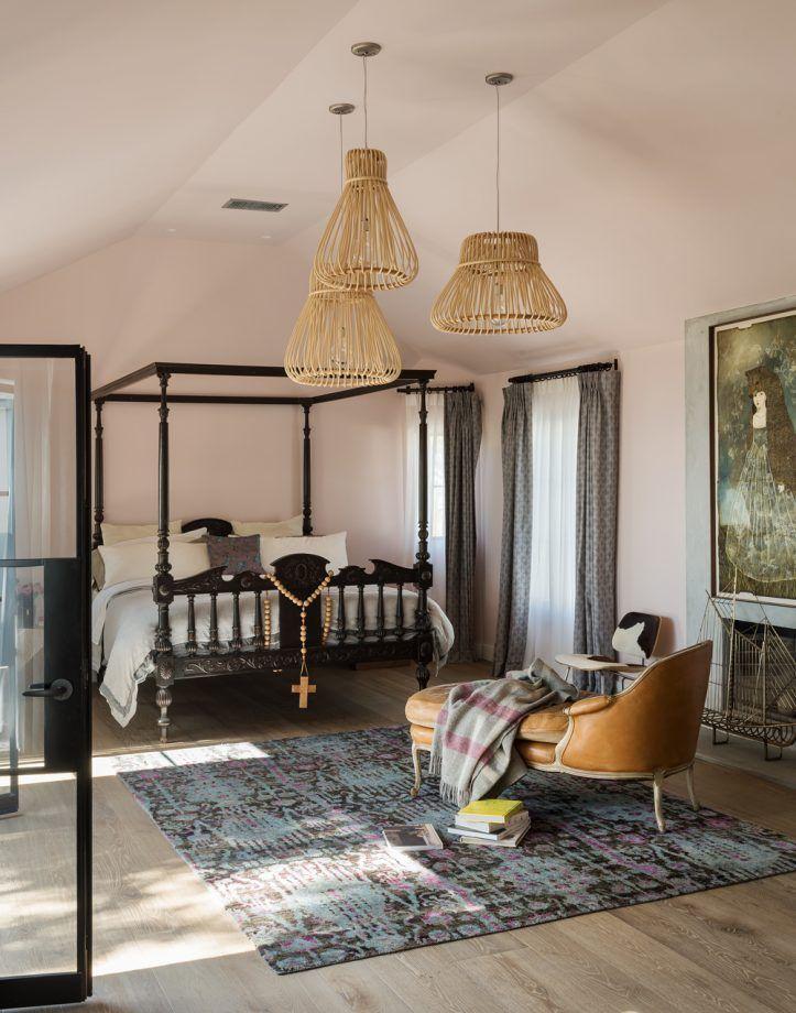 luxury bedroom ideas Master bedroom with black furniture and rattan lighting
