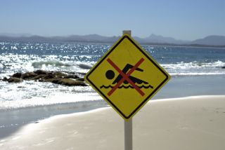"""Beach with """"No Swimming"""" sign in the foreground."""