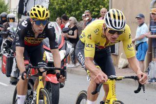 Wout van Aert (Jumbo-Visma) and Mathieu van der Poel (Alpecin-Fenix) cooperated in the breakaway on stage 7 of the Tour de France