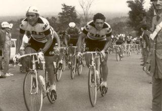 Aldo Moser (left) riding for the GBC team