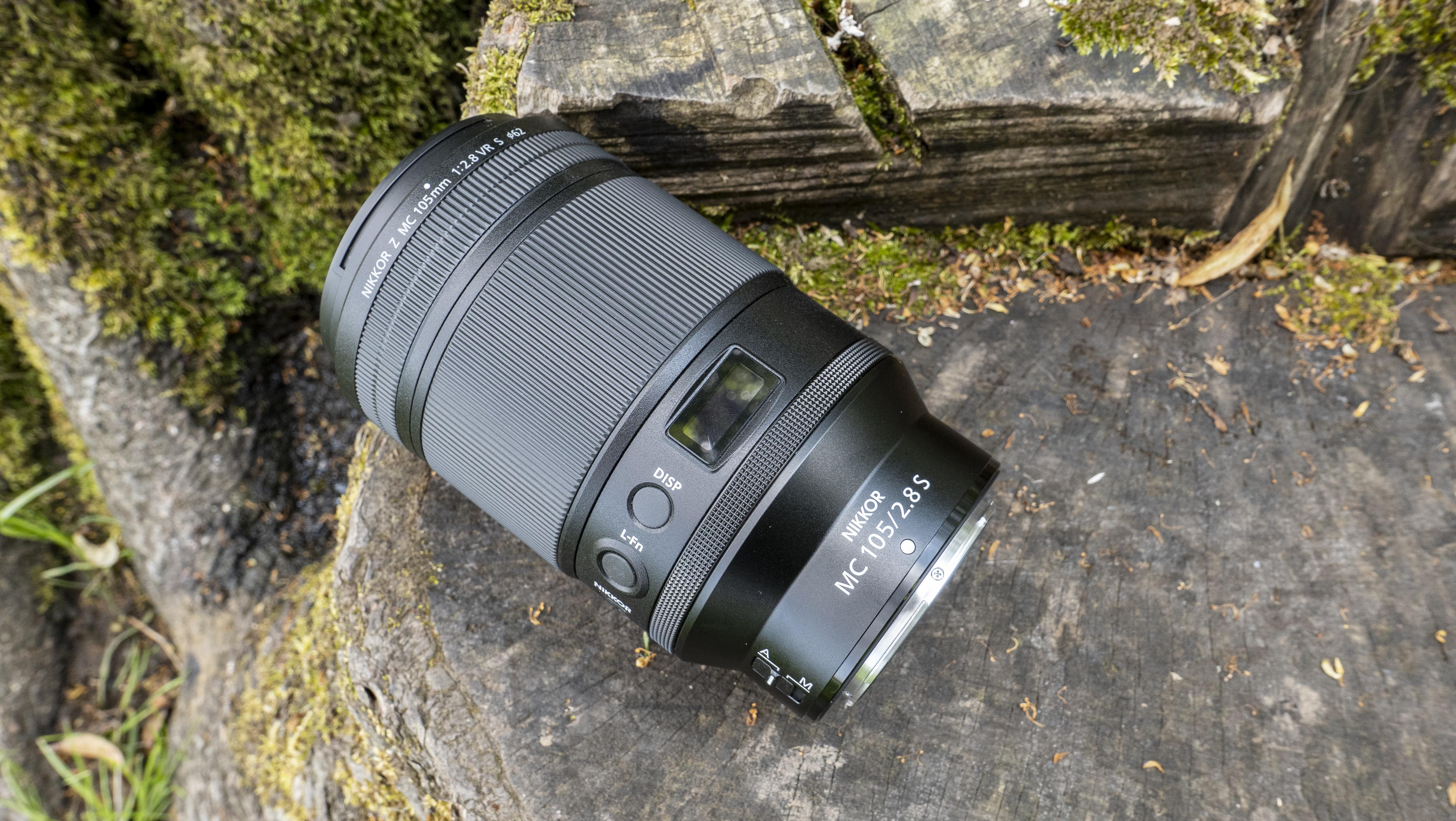 The side of the Nikon Nikkor Z MC 105mm f/2.8 VR S lens