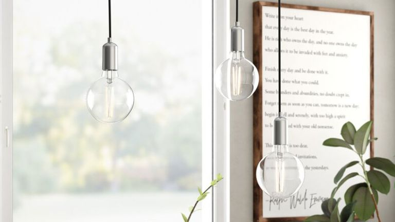 Wayfair lighting ideas: large lightbulbs hanging from ceiling
