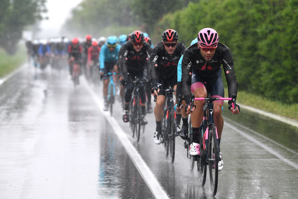 SESTOLA ITALY MAY 11 Filippo Ganna of Italy and Team INEOS Grenadiers Pink Leader Jersey during the 104th Giro dItalia 2021 Stage 4 a 187km stage from Piacenza to Sestola 1020m Rain girodiitalia Giro UCIworldtour on May 11 2021 in Sestola Italy Photo by Tim de WaeleGetty Images