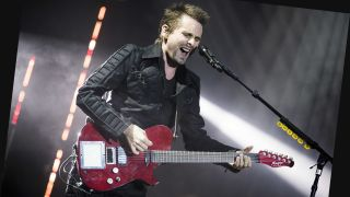 Matt Bellamy on stage with Manson custom X-Y pad guitar, Download Festival (photo: Adam Gasson)