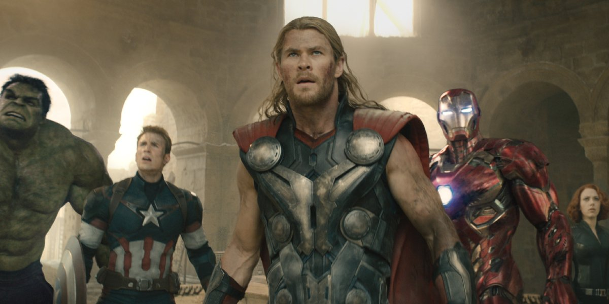 Chris Hemsworth as Thor with his fellow Avengers in Avengers: Age of Ultron