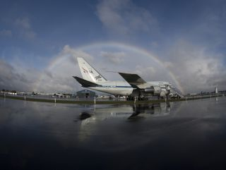 SOFIA Flying Observatory Framed by Rainbow