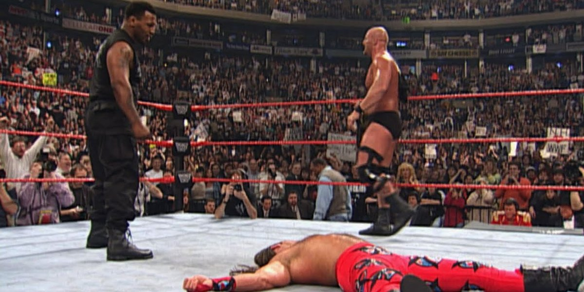 Mike Tyson, Shawn Michaels, and Steve Austin at WrestleMania 14