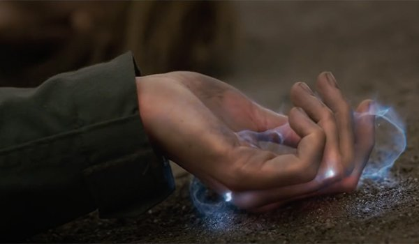 Energy emanating from Carol's hands when she gains her powers