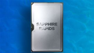 Intel Sapphire Rapids chip on wavy blue background