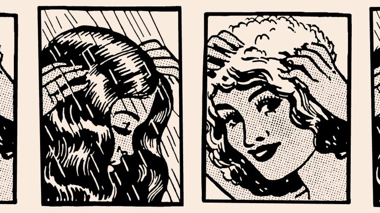 Does shampoo expire: Illustration to depict woman shampooing hair
