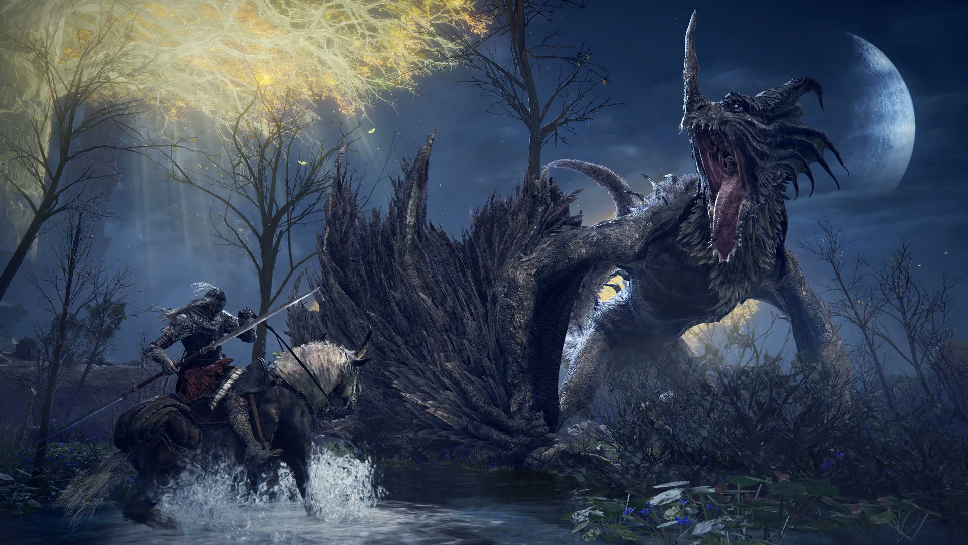 Elden Ring - A giant dragon roars over a horseman in a river