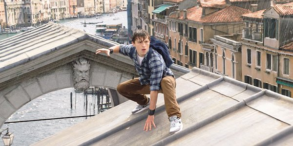 Peter in his Spidey pose in Spider-Man: Far From Home