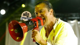 Mike Patton of American band Faith No More performs live at Espaco das Americas on September 24, 2015 in Sao Paulo, Brazil