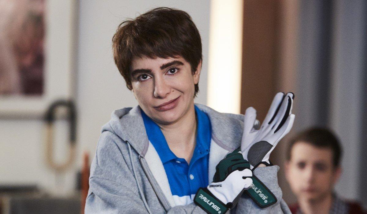 nasim pedrad's chad putting on gloves on tbs' chad