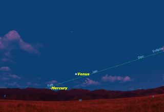 Mercury in March 2014 Sky Map