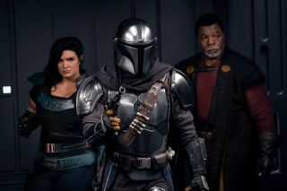 From left, Gina Carano, Pedro Pascal and Carl Weathers in Season 2 of The Mandalorian.