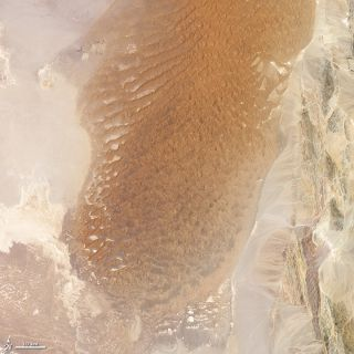 Lut Desert in Iran, taken by the Landsat 7 satellite on July 6, 1999.