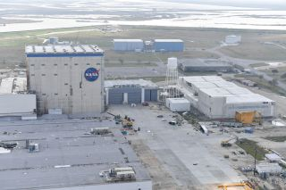 An aerial view of tornado damage at NASA's Michoud Assembly Facility taken one day after a tornado struck the center in New Orleans center on Feb. 7, 2017.