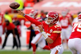 Kanas City Chiefs quarterback Patrick Mahomes throws a pass against the Carolina Panthers at Arrowhead Stadium on Nov. 8, 2020 in Kansas City, Mo.