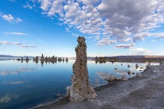 Lake Mono in California has so much salt, pillars are built over time.