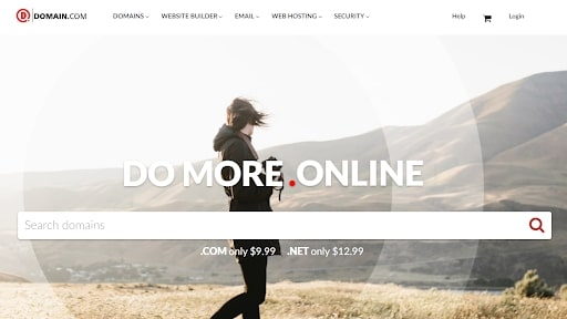 Domain.com's homepage