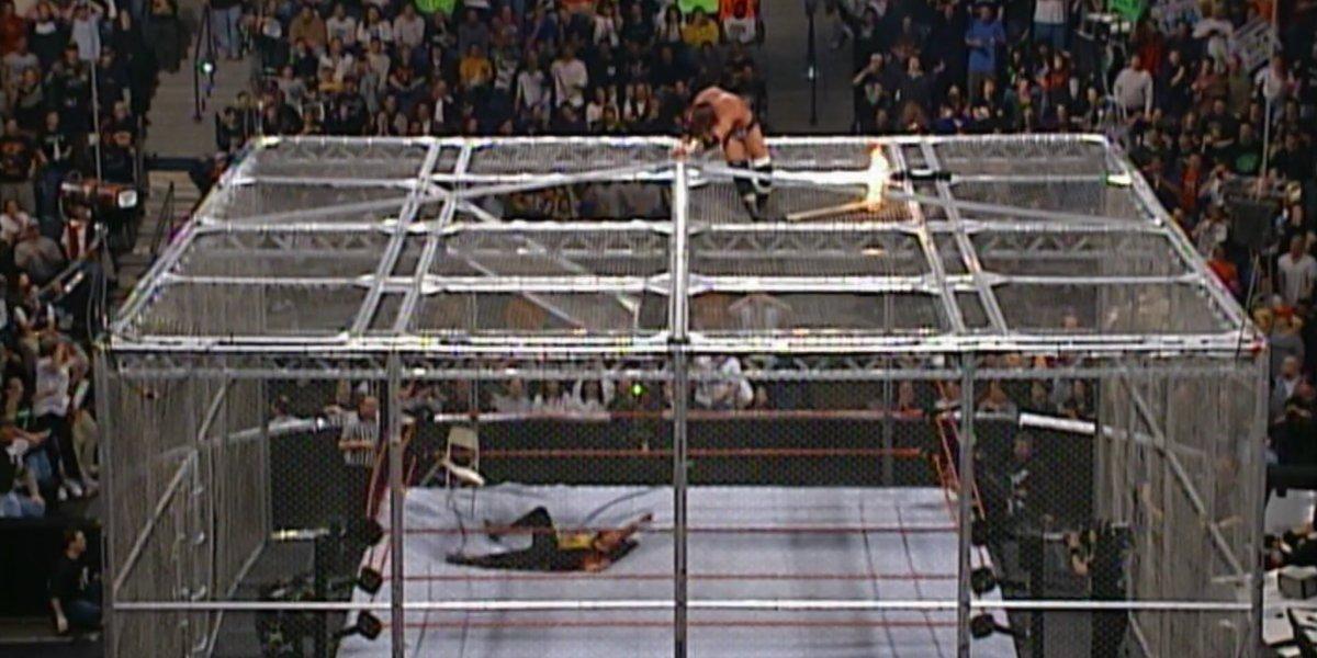 Mick Foley after crashing into the ring at No Way Out 2000
