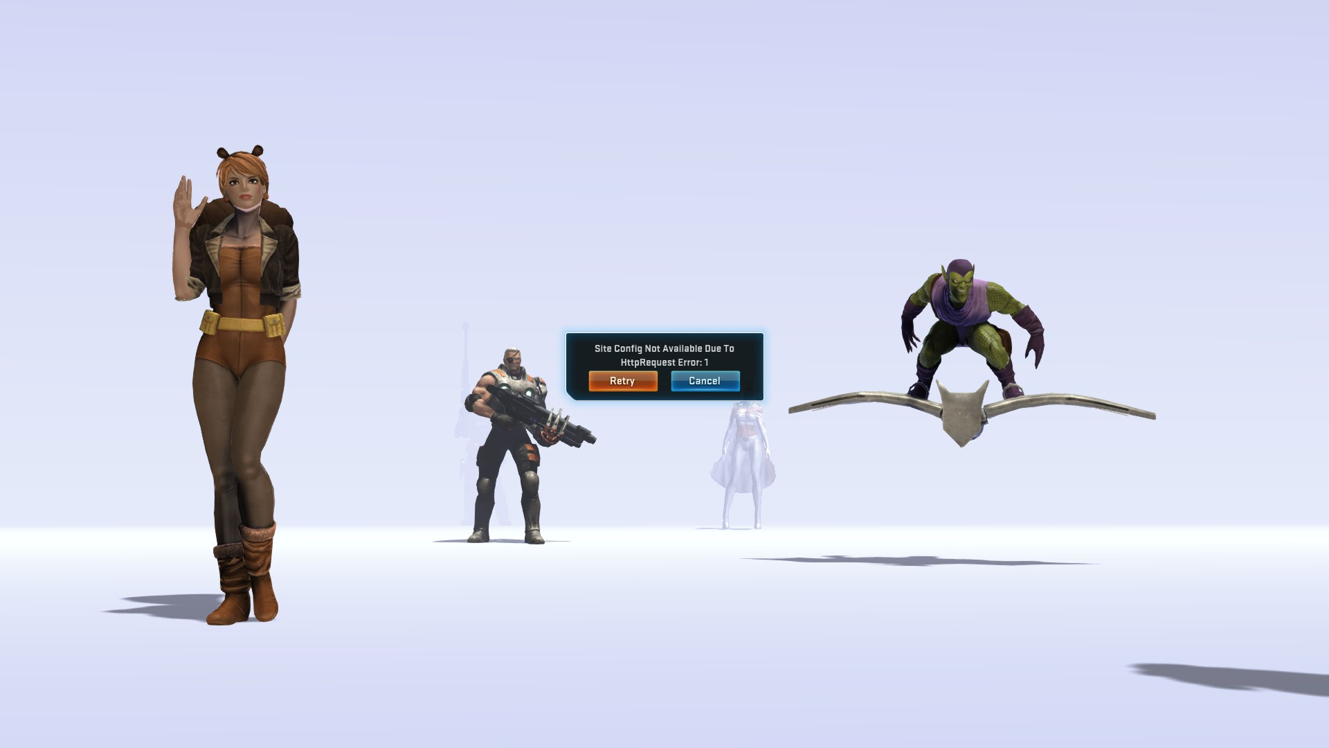 The error message you're greeted with if you log into Marvel Heroes today
