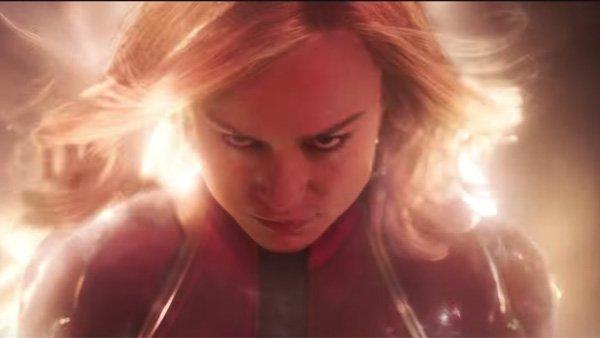 Brie Larson's hair on fire in Captain Marvel promo