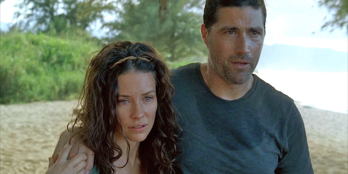 Evangeline Lilly and Matthew Fox as Jack and Kate in Lost