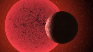 Artistic impression of the super-Earth in orbit around the red dwarf star GJ 740.