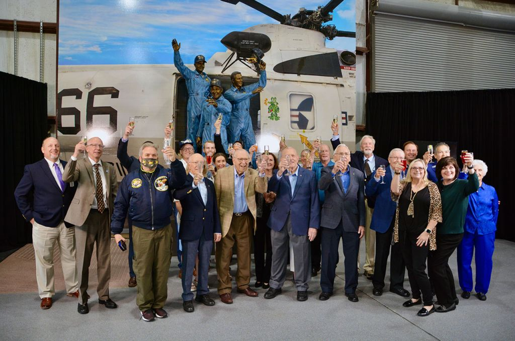 Apollo 13 astronauts raise a toast to their recovery with new statue