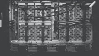 a monochrome image of server units
