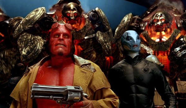Hellboy II: The Golden Army Hellboy and Abe Sapien surrounded by the Golden Army