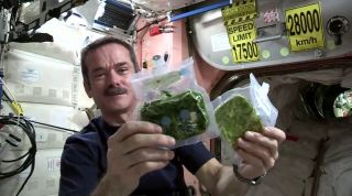 Canadian astronaut Chris Hadfield makes spinach in space for a tasty cooking lesson.