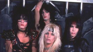 Motley Crue in the early 1980s wearing glam rock make up