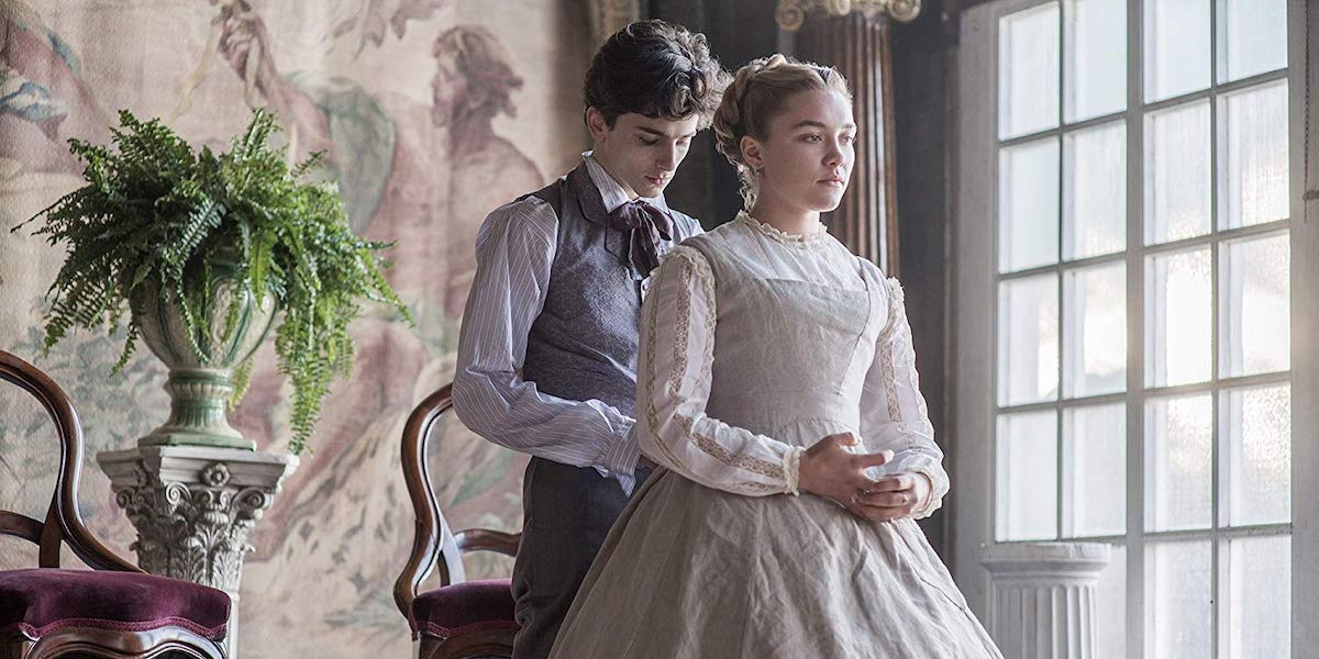 Timothee Chalamet and Florence Pugh as Laurie and Amy in Little Women
