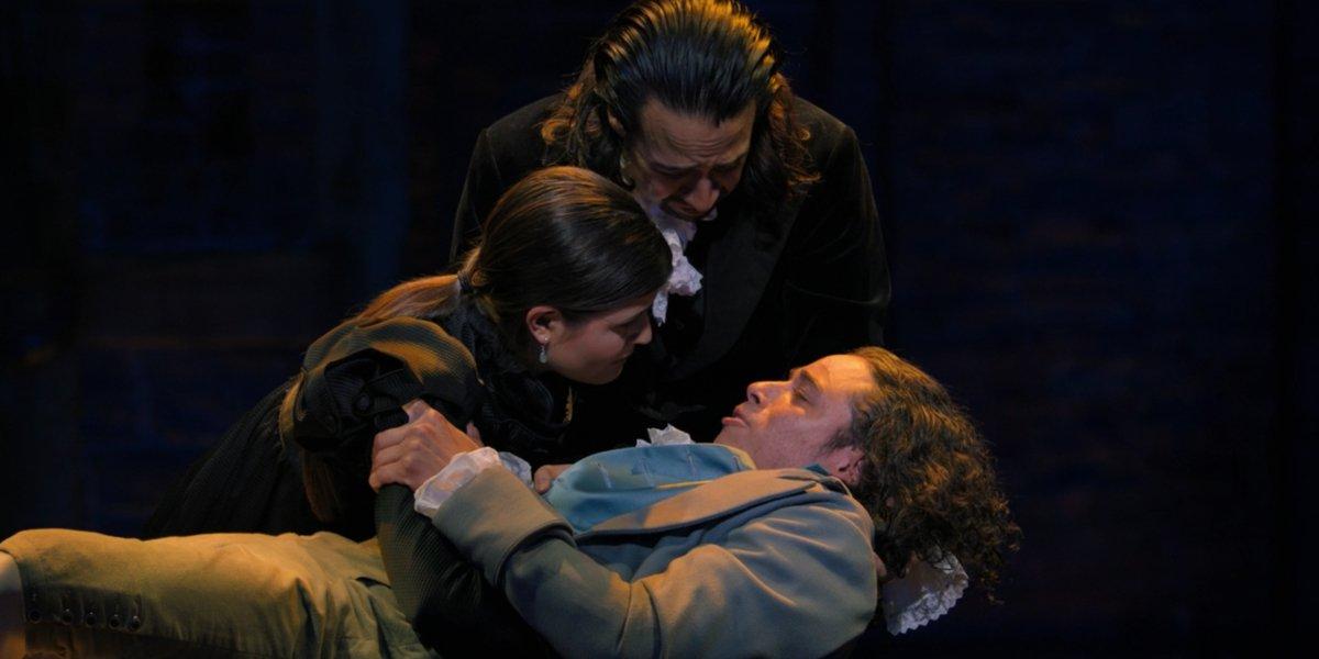 Phillipa Soo, Lin-Manuel Miranda, and Anthony Ramos in Hamilton