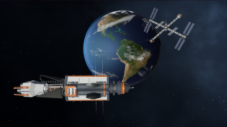 A resistance space gunship from the game Terra Invicta patrols above Earth.