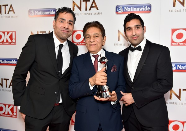 Umar Siddiqui, Sid Siddiqui and Baasit Siddiqui with the award for Best Factual Entertainment Show (Matt Crossick)