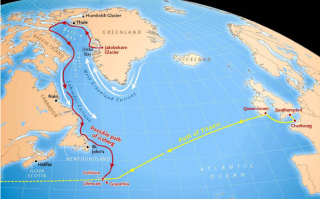 The known route of the Titanic and a possible route of the iceberg.