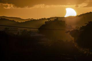 Partial Solar Eclipse Seen in Brisbane, Australia, April 29, 201
