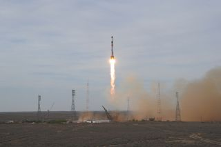 A Russian Soyuz rocket blasts off from Baikonur Cosmodrome in Kazakhstan carrying the Progress 42 cargo ship on April 27, 2011. The Progress cargo ship will deliver supplies to the International Space Station.