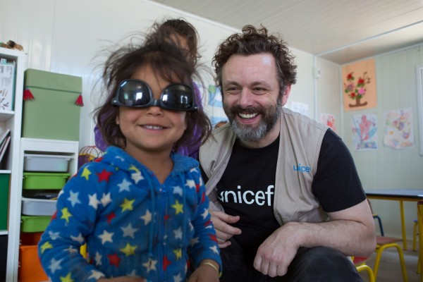 Unicef UK ambassador Michael Sheen meeting children in 1st- 3rd Grade Classes at a Unicef supported- primary school in Za'atari refugee camp in Jordan