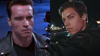 Arnold Schwarzenegger in Terminator and his son Joseph Baena in short film remake Bad To The Bone