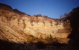 In Butterloch Gorge in northern Italy, the boundary between Permian-era rocks and Triassic-era rocks is exposed.