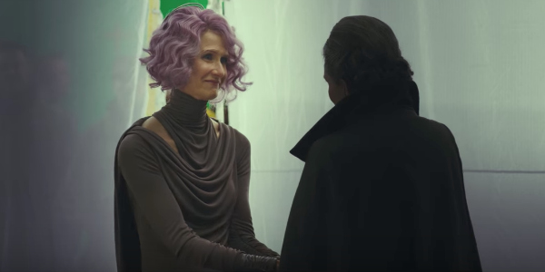Laura Dern filming with Carrie fisher