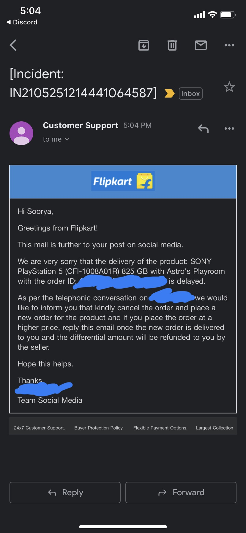 Flipkart's Mail to a customer to cancel PS5 order