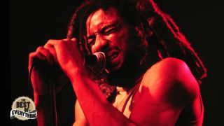 This is a photo of Bad Brains' H.R. performing live in 1986