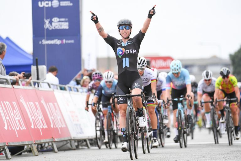 Lorena Wiebes (DSM) takes the win at stage five of the AJ Bell Women's Tour in Clacton, Essex